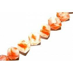 Octogone 8 mm orange/blanche décoré x 4