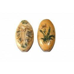 Os olive plate gravée 34,5x15,5x9,5 mm x 1