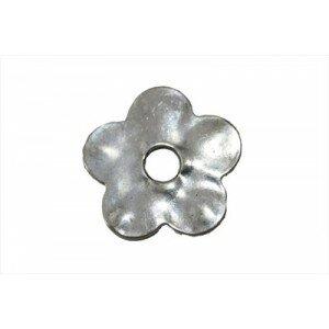 Perle fleur métal 31mm argenté vieilli x 1