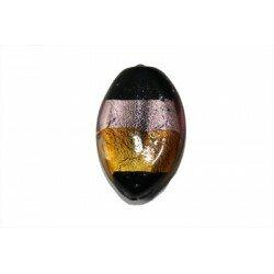 Olive plate feuille d'argent 30x20x7,5 mm topaze et rose x 1