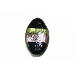 Olive plate feuille d'argent 20x13x5,5 mm améthyste et vert x 2