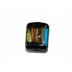 Carré plat feuille d'argent 15x12x6,5 mm bleu x 2