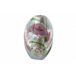 Olive décorée feuille d'argent 15x11 mm x 2