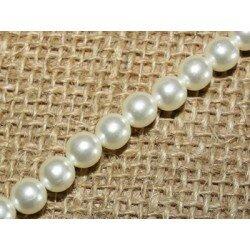 Perles nacrées 8 mm Ivoire x 20