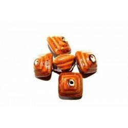 Carré bombé en céramique 18x13 mm orange x 2
