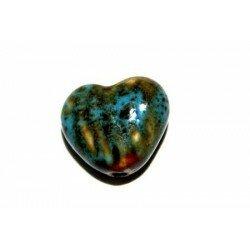 Cœur en céramique 18,5 mm bleu x 2