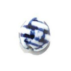 Ronde 9.3 mm blanche et bleue x 1