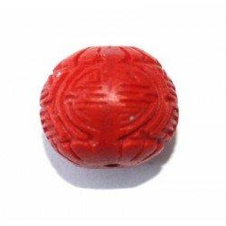 Ronde gravée 16 mm cire moulée rouge x 1