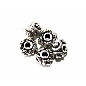 Perle métal intercalaire 9 mm argenté vieilli x 5