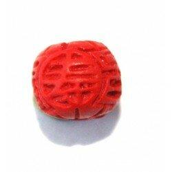 Ovale gravée 10 mm cire moulée rouge x 3
