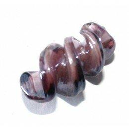 Perle torsade en verre 28 x 16 mm violet x 1