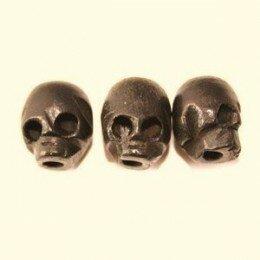 Perle tête de mort en bois 10x7 mm x 3