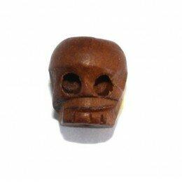Perle tête de mort en bois 12x11 mm x 3