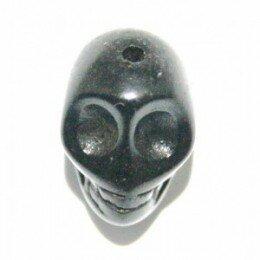 Perle tête de mort 18 mm Howlite noire x 1