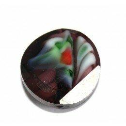 Perle en verre bombée 18 mm violette x 1