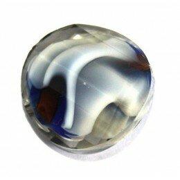 Perle en verre bombée 18 mm bleue x 1