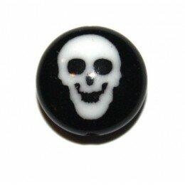 Perle tête de mort en verre 10 mm x 1