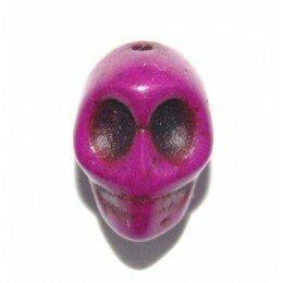 Perle tête de mort 12 mm Howlite prune x 1
