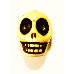 Perle tête de mort 12 mm Howlite jaune x 1