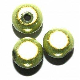 Perles magiques 10 mm Olivine x 10