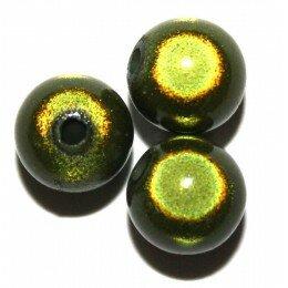 Perles magiques 10 mm verte x 10