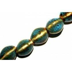 Olive en céramique 13x9,5 mm bleue x 2