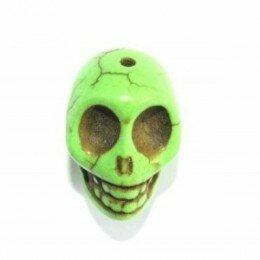 Perle tête de mort 12 mm Howlite verte x 1