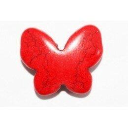 Perle papillon en howlite rouge 17x20 mm x 1