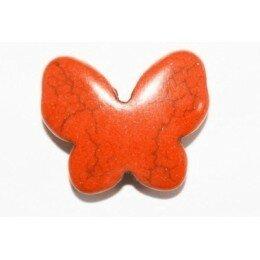 Perle papillon en howlite orange 17x20 mm x 1