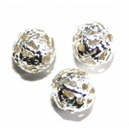 Perle fleur en métal 7 mm argenté x 10