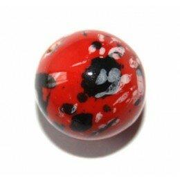 Perle ronde en céramique 18 mm rouge x1