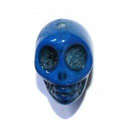 Perle tête de mort 18 mm Howlite bleu marine x 1