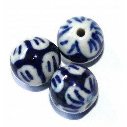 Ronde 27x20 mm blanche et bleue x 1