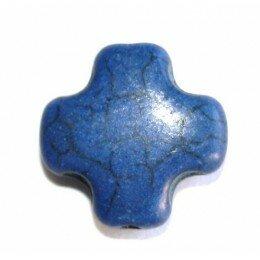 Perle croix en howlite noir 15mm x 1