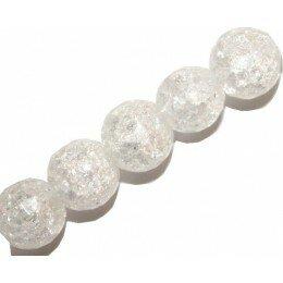 Perle Cristal craquelé rond biseauté 8 mm x 2