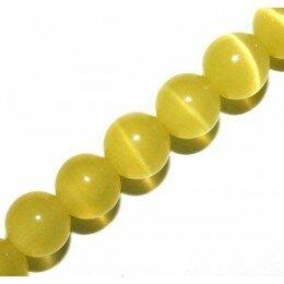 Perle Oeil de chat 6 mm jaune x 10