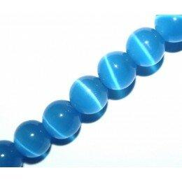 Perle Oeil de chat 6 mm bleu marine x 10