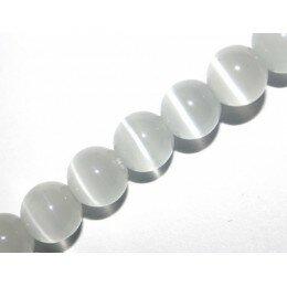 Perle Oeil de chat 8 mm blanc x 6