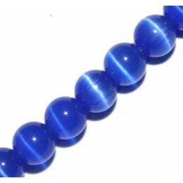 Perle Oeil de chat 8 mm bleu x 6