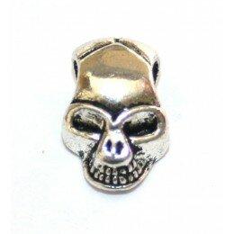 Perle tête de mort argenté vieilli 12x8 mm x 4