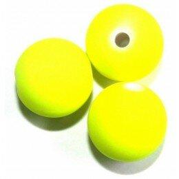 Perle satin jaune fluo 10 mm x 10