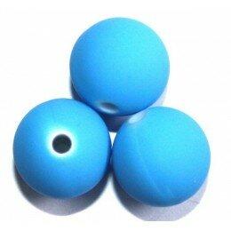 Perle satin bleu 10 mm x 10
