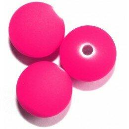 Perle satin rose fluo 12mm x 5