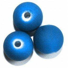 Perle satin bleu 12mm x 5