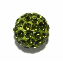 Perle Shamballa vert 10 mm x 10