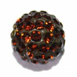 Perle Shamballa marron 10 mm x 10