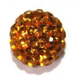 Perle Shamballa orangé 10 mm x 10