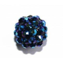 Perle shamballa bleu 14 mm x 1