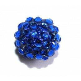 Perle shamballa bleue 16 mm x 1