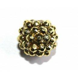 Perle shamballa dorée 14 mm x 1